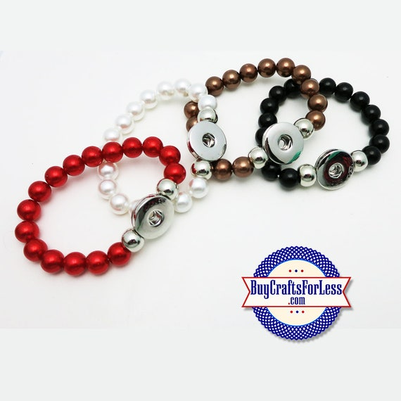 SNAP Button BRACELET, for 18mm Interchangable Snap Buttons, Stretchy +FREE Shipping & Discounts