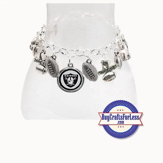 OAKLAND Football Silver Plated CHARM Bracelet  **FREE U.S. SHiPPiNG**