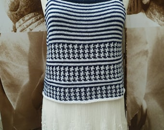 hand knitted blue and white top