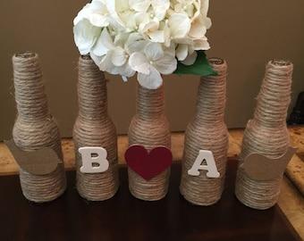 5-Piece, Personalize vase, Rustic wedding decor, rustic home decor, Farm Decor, Shabby-chic, glass vases, personalized decor, wedding decor