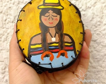 Purse craft made Totumo, with Original artwork, hand painted, made in Colombia, Colombia coffee