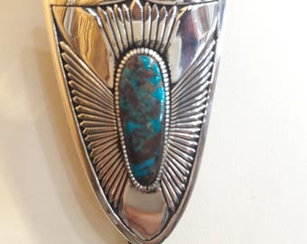 Authentic Native American Navajo handmade Sterling Silver Turquoise Bolo Tie