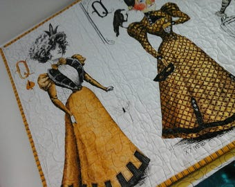 Reproduction Steampunk Quilt Wall Hanging Victorian Era Wall Art Gothic Fabric Ready to Ship Handmade Halloween Goth Steam Punk Art Queens