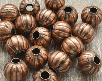 Copper Beads, Copper Spacer Beads, Loose Beads, Melon Beads, Pumpkin Beads, Bead Supply, 8mm Beads, 8mm Copper Melon Beads,  Pack of 20