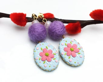 Polymer clay Jewlery of handmade earrings - Babybl and Pinke flower | FIFI CLAY