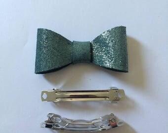 Glittery emerald green leather bow hair clip