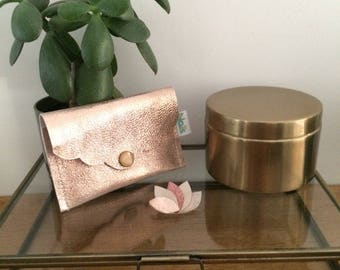 Iridescent pink leather wallet