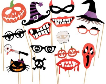 16pcs halloween photo booth props party props photo booth props party supplies - Halloween Photography Props