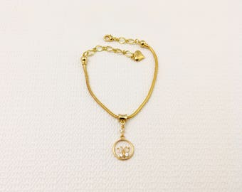 Anklet, gold anklet, butterfly anklet, 3 in 1 anklet bracelet, round gold chain anklet, golden charms anklet, everyday anklet, heart anklet