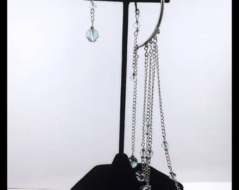 Sterling Silver Aquamarine Back Earrings with Flat Sterling Silver Chains, One and One Aquamarine and silver chains earrings