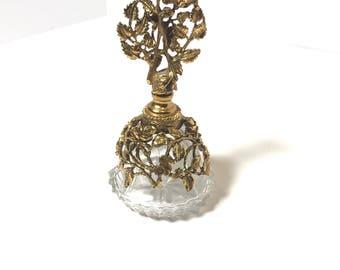 Gilded rose glass bottle // vintage perfume bottle