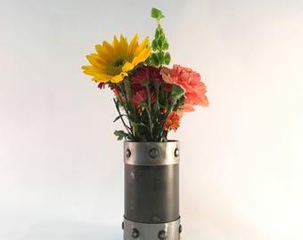 Industrial metal flower vase rustic steampunk