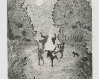 """NightCall"" engraving. Tribal print Etching, Party, Forest, Night, Full Moon, engraving, contemporary, black and white Illustration, Handmade"