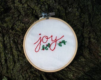 Joy Christmas Winter Holiday Embroidery Hoop Art Gift Decor