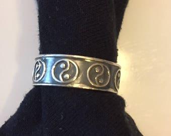 Men's Yin Yang Sterling Silver Ring, Size 11