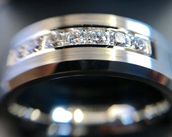 Men's Tungsten Carbide Wedding Band -Silver / Gray Diamond inlay - Polished ID & Bevel - Male Anniversary / Engagement Ring - Jewelry