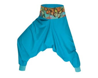 Cotton Harem pants Women Yoga pants Turquoise