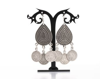 Drop Silver Coin Earrings