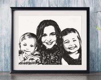 Framed - Custom Portrait - 3 or more people - Hand drawn from photo, Hand Drawn Portraits , Custom Pen Drawing, Drawing with Pen,Pen Drawing