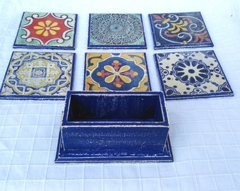 Shabby Chic coasters 6 Decoupage coasters wooden coasters with box drink coasters Moroccan ornament set coasters vintage rustic