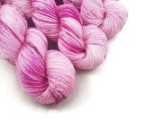 Hand Dyed Yarn 'A Rose is a Rose' - Sock Weight Variegated Speckled Yarn - 463yd/100g of 75/25 Merino/Nylon Superwash Pink, Magenta Speckled