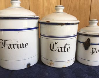 French enamel cannister set of 3
