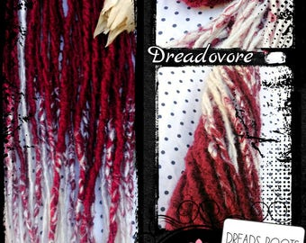 """45 Dreads """"Roots"""". Choice of length. Burgundy and white. Dreadlocks. Dreadovore"""