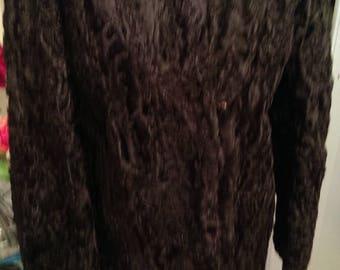 TRUE VINTAGE Astrakhan Coat Mink Fur Collat. S-M.