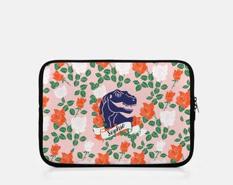 Monogram iPad Sleeve, Dinosaur iPad Sleeve, iPad Mini Sleeve, Pink iPad Sleeve, iPad Cover, eReader, Kindle Sleeve, Dinosaur Tablet,