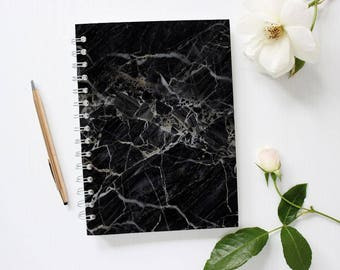 Black Marble Notebook, Black Notebook for Him, Lined Notebook, Spiral Notebook, Minimalist Notebook, Black Notebook for Men, Back to School