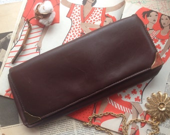 Brown faux leather clutch 80s 90s