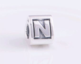 Authentice  Sterling Silver  Letter N  Charm