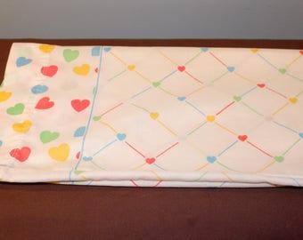 Vintage White Rainbow Heart Standard Size Pillowcase