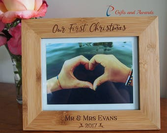 "FREE DELIVERY-Personalised bamboo engraved photo frame-hold 6x8"" photo-Gift for couple-Christmas gift for couple-Our first Christmas"