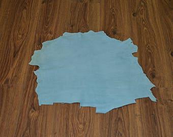 Lambskin leather velvet sky blue (2017080704)