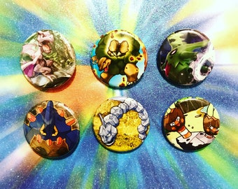Choose Your Buttons - Set Of Six Rock Type Pokemon Buttons!