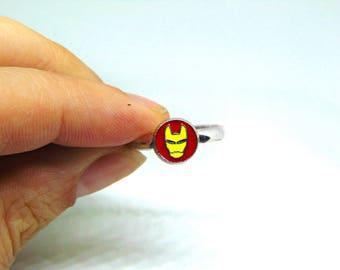 Marvel Comic Iron Man Inspired Logo Ring/Iron Man Gift/Marvel Comic Gift/Gift For Comic Book Fan/Comic Book Gift