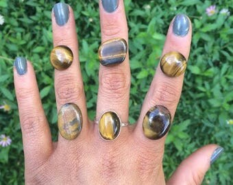 Sterling Silver Tigers Eye Ring / Sterling Silver Ring / Large Tigers Eye / Tiger's Eye Ring / Tiger Eye Ring / Custom Tigers Eye / Vegan