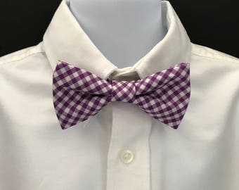 Toddlers Purple Gingham Bow Tie; Little Boys Purple Checked Bow Tie; Boys Pre-Tied Bow Tie; Purple & White Bow Tie; Adjustable Baby Bow Tie