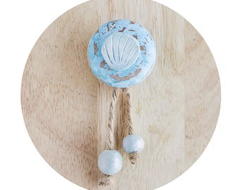 Rustic turquoise Drawer Knobs, Blue cabinet knobs with seashell, Cabinet Knob beach decor, Beach knobs, Blue knobs,Pearl drawer pulls Tassel