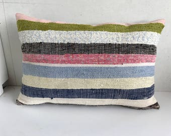 Kilim hemp cushion 40x60 cm,Turkish handwoven kilim hemp pillows .