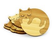 CAT COASTERS - Set of 4 - Bamboo Coasters