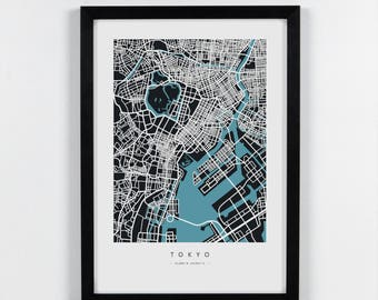 Tokyo, Japan - City Map Art Print - A2, A3, A4. Graphical Home decor map