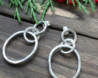 Handmade Silver hoops drop earrings