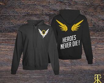 Custom Overwatch-Inspired Mercy Zip Hoodie Holiday Gift, Gamer Gift, E-Sports Gift, Nerd Gift
