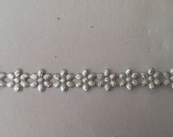 Silver 1 cm width Lazer cut flower Ribbon