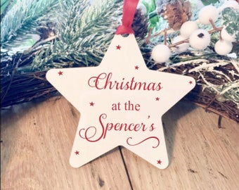 Personalised family decoration, christmas ornament, christmas decoration, personalized tree decoration, present for them, wedding gift