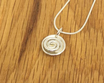 Silver swirl charm, Silver swirl, pendant, charm, necklace, circle, twist, birthday gift for her, silver swirls, silver jewellery set,