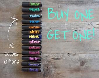 BOGO ---> 10ml Essential Oil Roller Bottle Labels with Cursive Font - 10 Labels - 30 Color Options - LABELS ONLY