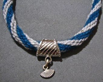 Kumihimo necklace and silver metal wool
